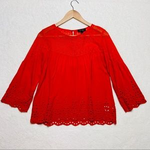 Jessica Simpson Red Eyelet Lace Top Bell Sleeve S